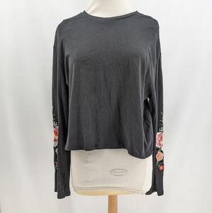 H&M Black Embroidered Floral Arms Crop Shirt